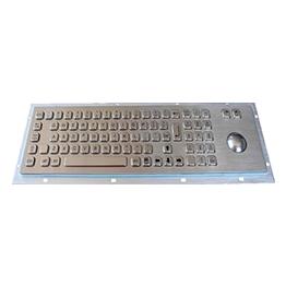 81键带数字小键盘金属工业键盘_不锈钢轨迹球工业级金属键盘